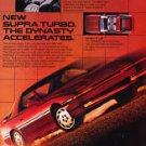 1986 Toyota Supra Turbo - Dynasty - Classic Vintage Advertisement Ad