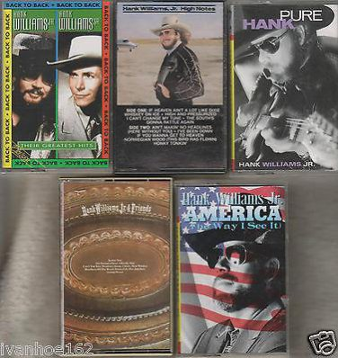 HANK WILLIAMS JR. COUNTRY CASSETTE LOT (5)