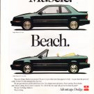1992 DODGE SHADOW advertisement, Dodge Shadow ES Coupe & Convertible