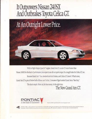 1992 Pontiac Grand Am GT - Outpower - Classic Vintage Advertisement Ad