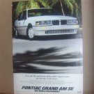 Vintage Pontiac Grand Am SE Magazine Advertisement
