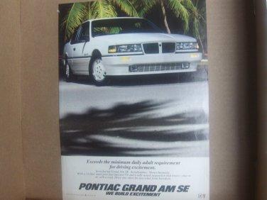 Vintage Pontiac Grand Am SE Magazine Advertisement