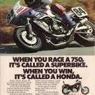 1985 Honda 750 Motorcycle Color Magazine Ad. Superbike!
