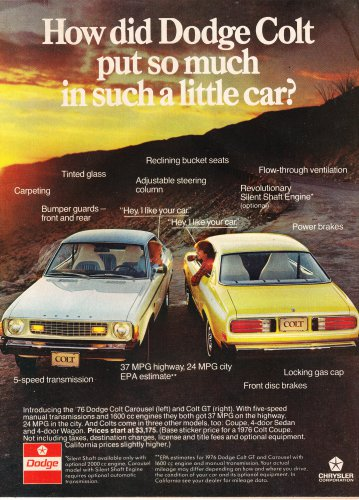 Vintage Dodge Colt Magazine Advertisement