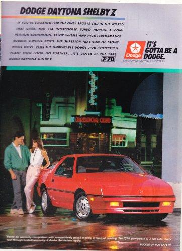 Vintage Dodge Daytona Shelby Z Magazine Advertisement