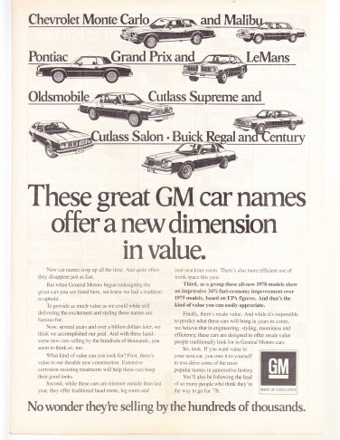 GM Car Names Vintage Magazine Advertsement