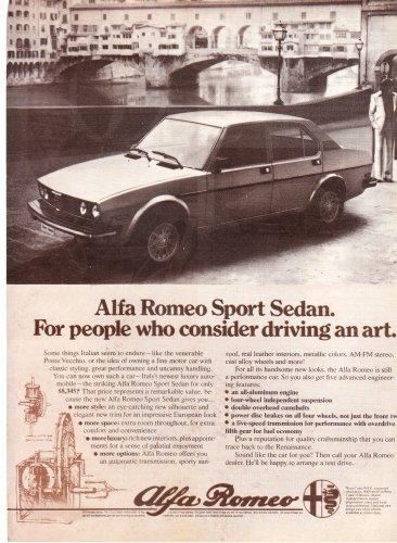 Alfa Romeo Sport Sedan Vintage Advertisement