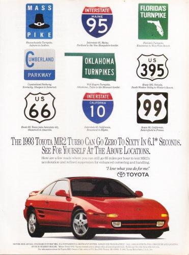 Toyota MR2 Turbo Advertisement vintage magazine ad