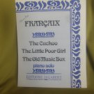 The Cuckoo - The Little Poor Girl - The Old Music Box  Sheet music – 1975 by Alfred Francaix