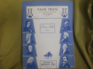 Valse Triste sheet music composed by Jean Sibelius arranged for Piano.
