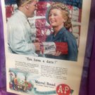 Vintage A&P Marvel Bread Magazine  Advertisement