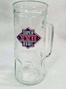 Vtg NFL Super Bowl XXII 22 Glass Mug Washington Redskins Denver Broncos Football