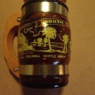 Vintage Brown Amber Mug Wood Handle Glass Siesta .....South Carolina