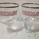 CHIMAY BEER GLASSES SILVER RIM GOBLET STEMMED BELGIUM GLASS SET