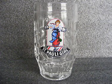 ST. PAULI GIRL GLASS DIMPLED BEER MUG / .25L GERMANY