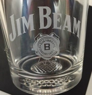 Jim Beam Heavy Based Drink Glass Sports Theme GOLF Tumbler Drinking Cup Barware