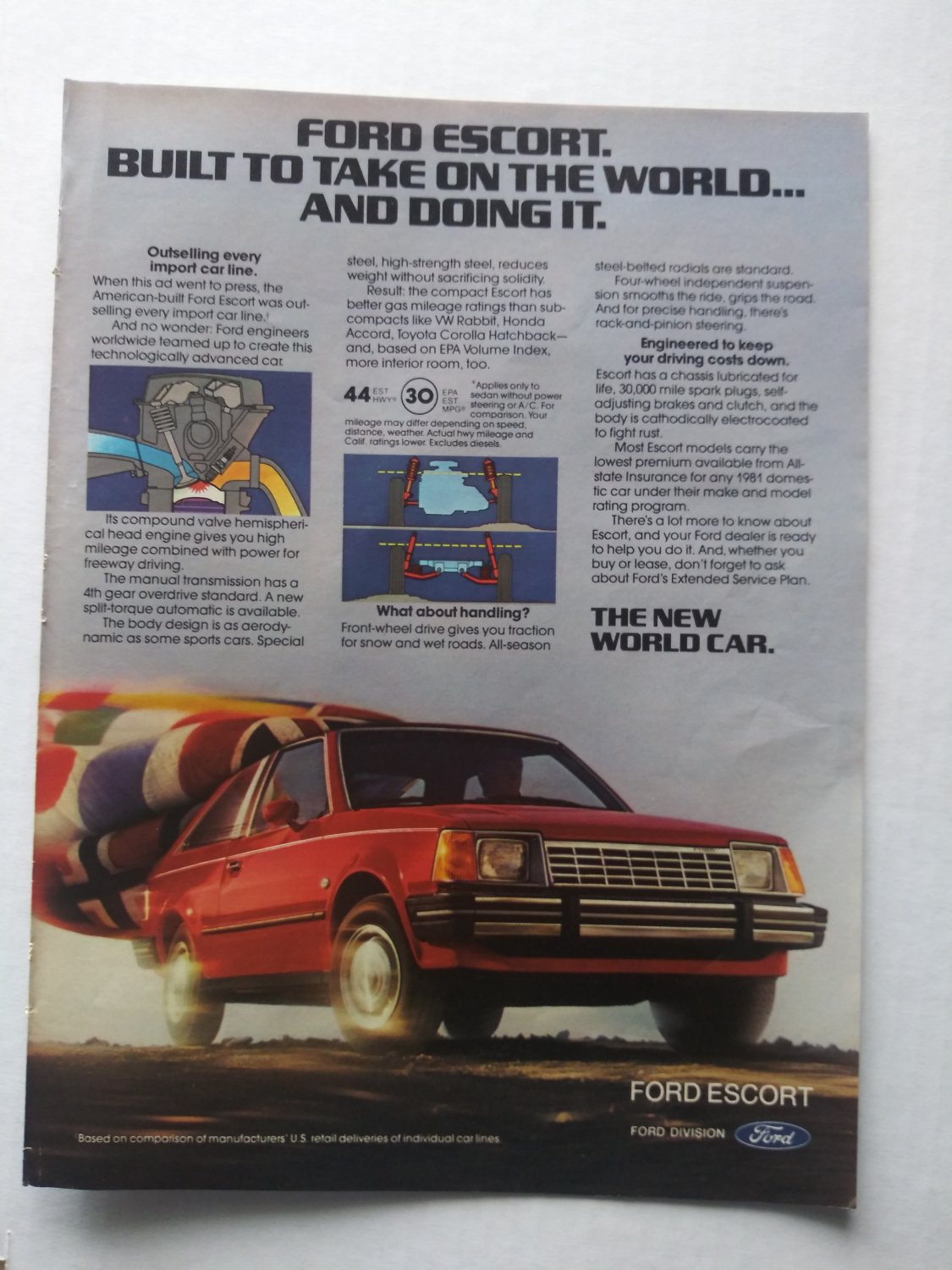 Magazine Print Ad From 1981 For FORD ESCORT: BUILT TO TAKE ON THE WORLD AND DOING IT.