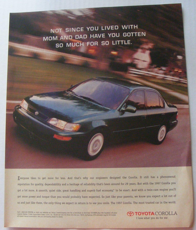 Toyota Corolla Original Print Magazine Advertisement