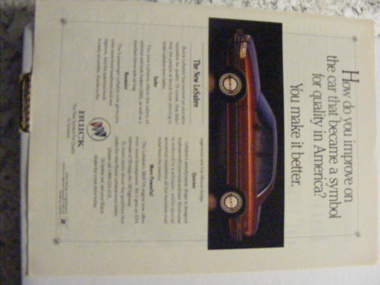 Buick LeSabre Original Magazine Print Advertisement 1991