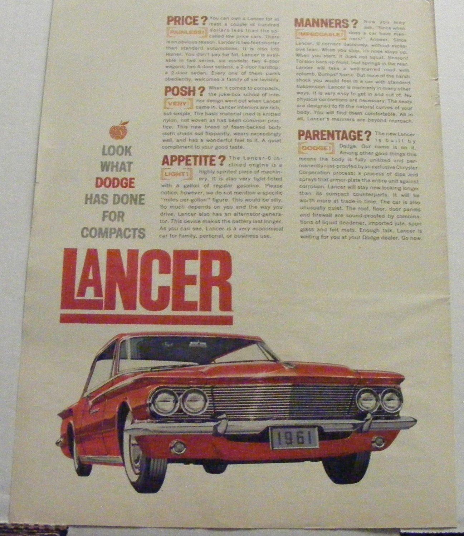 Vintage Dodge Lancer Original Magazine Advertisement