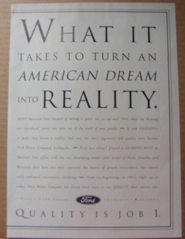 Ford |Quality is Job 1 original magazine ad