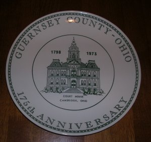 Guernsey County Ohio 175 Anniversary Commemorative Plate 1973 Cambridge Court House