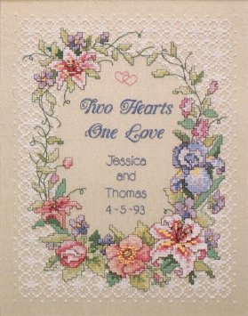 Dimensions Stamped Cross Stitch Two Hearts Wedding Record