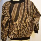 Vintage Wild Jungle Animal Pullover Sweater Brown Black Gold Metallic Threads Miss Jackson's