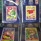 4 New USA Christmas Stamp Collection Craft Kits DMC Counted Cross Stitch