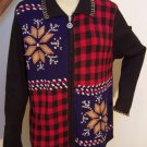 Large Winter Country Sweater Zip Up Cardigan Black Navy Blue Red Brown White