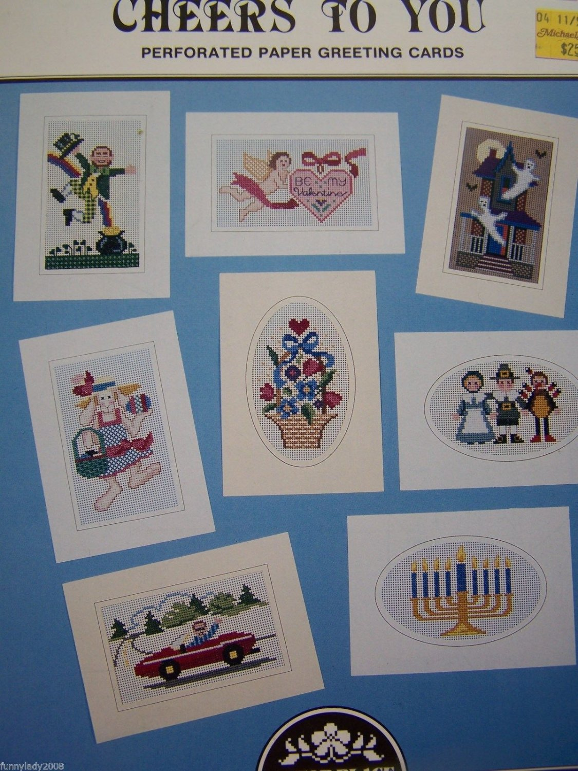 8 Cross Stitch Embroidery Patterns Perforated Paper Greeting Cards Book 47 Hanukkah