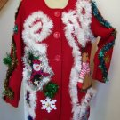 Women's 2X Ugly Christmas Sweater Cape Tacky Gaudy Snoman Reindeer Free Tulsa Pick up