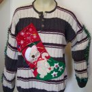 LED Lights Cat Stocking Ugly Christmas Sweater Mens XL Tacky Crazy Kitten