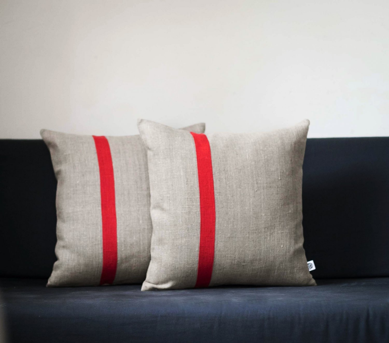 Set of 2 Decorative pillow covers 16x16 inch size - Color block pillows Linen cushion case