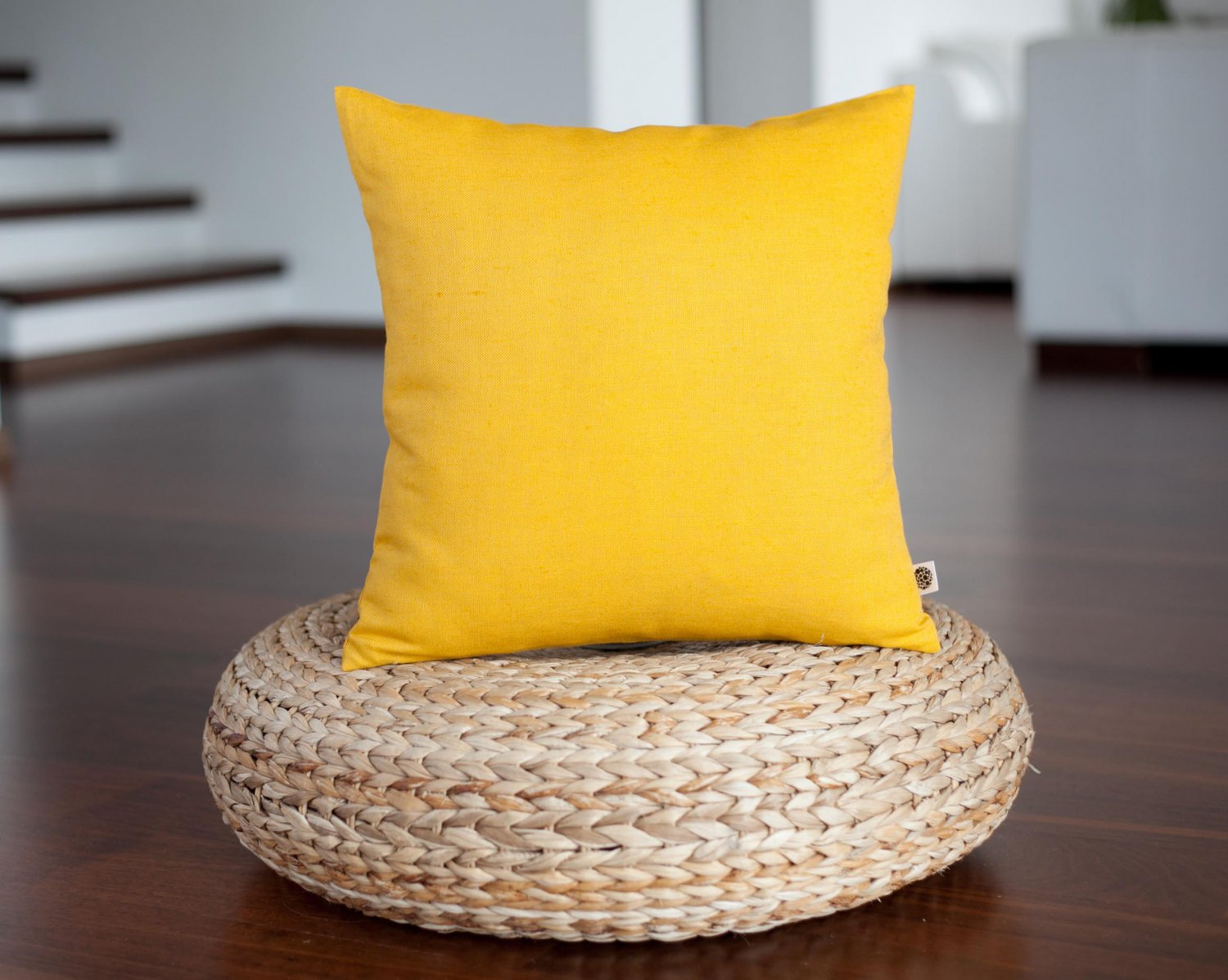 Yellow linen pillow cover 16x16 inch size