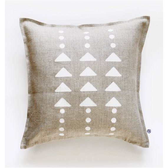Decorative linen pillow cover 18x18 inch size geometric print