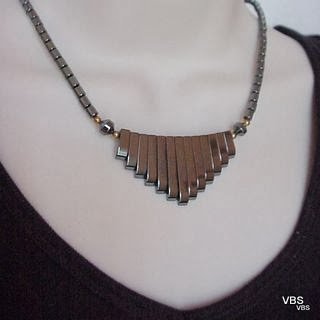 "Black Hematite Bib Necklace 18"" @VillageBeadShop"