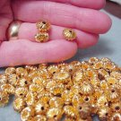 14/20 18kgf Gold Filled 9mm x 7mm Squished Pumpkin Corrugated Beads & Jewelry Beading Supplies DIY