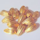 Corrugated Beads 13mm x 8mm Gold Plated Hollow Jewelry and Beading Supplies DIY @VillageBeadShop