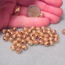 Brass Round 6mm Beads Corrugated Metal Fluted Beads 22 pieces Jewelry and Beading Supplies, DIY
