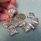Fan Beads 12mm x 11mm Silver Beaded Metal Jewelry and Beading Supplies, DIY @VillageBeadShop