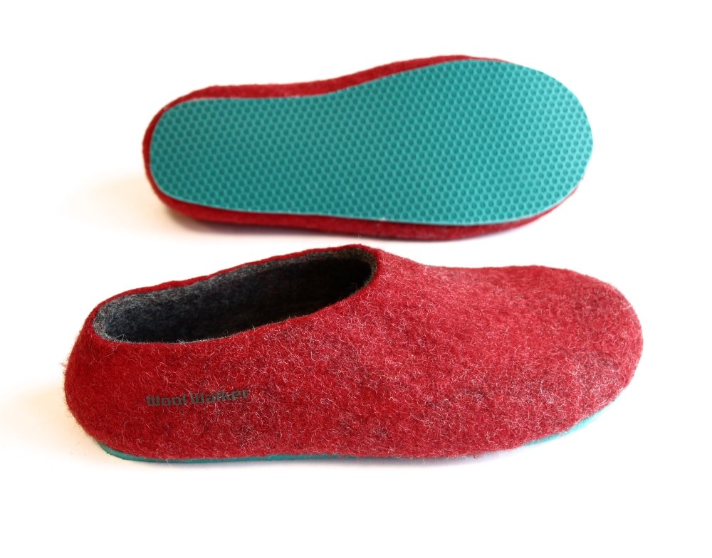 Men's felt wool slip-ons Red Aqua Rubber Soled