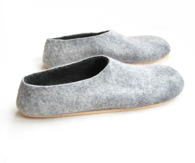 Men's felt wool slip-ons Grey Gray Cork Soled. Best seller