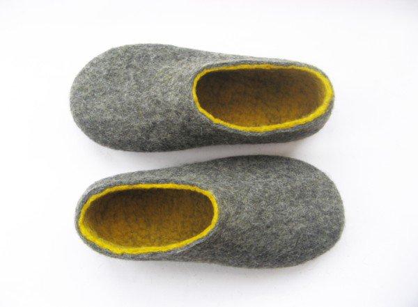 Women's felt wool slip-ons Grey Yellow Rubber Soled. Best seller