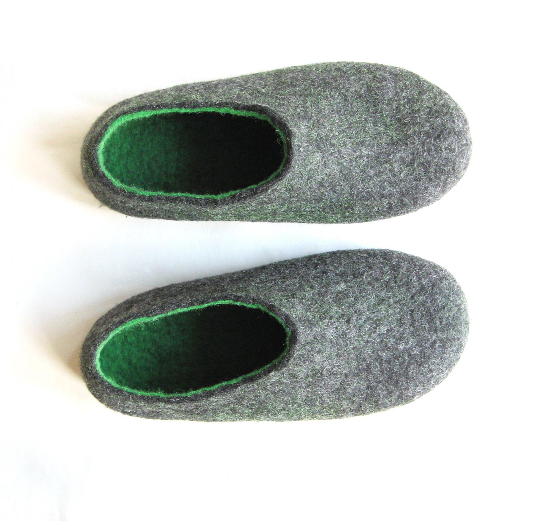 Men's felt wool slip-ons Charcoal Green Rubber Soled. Best seller