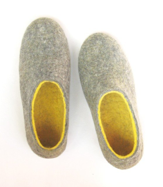 Men's Felt Slippers Gray Yellow Cork Soled