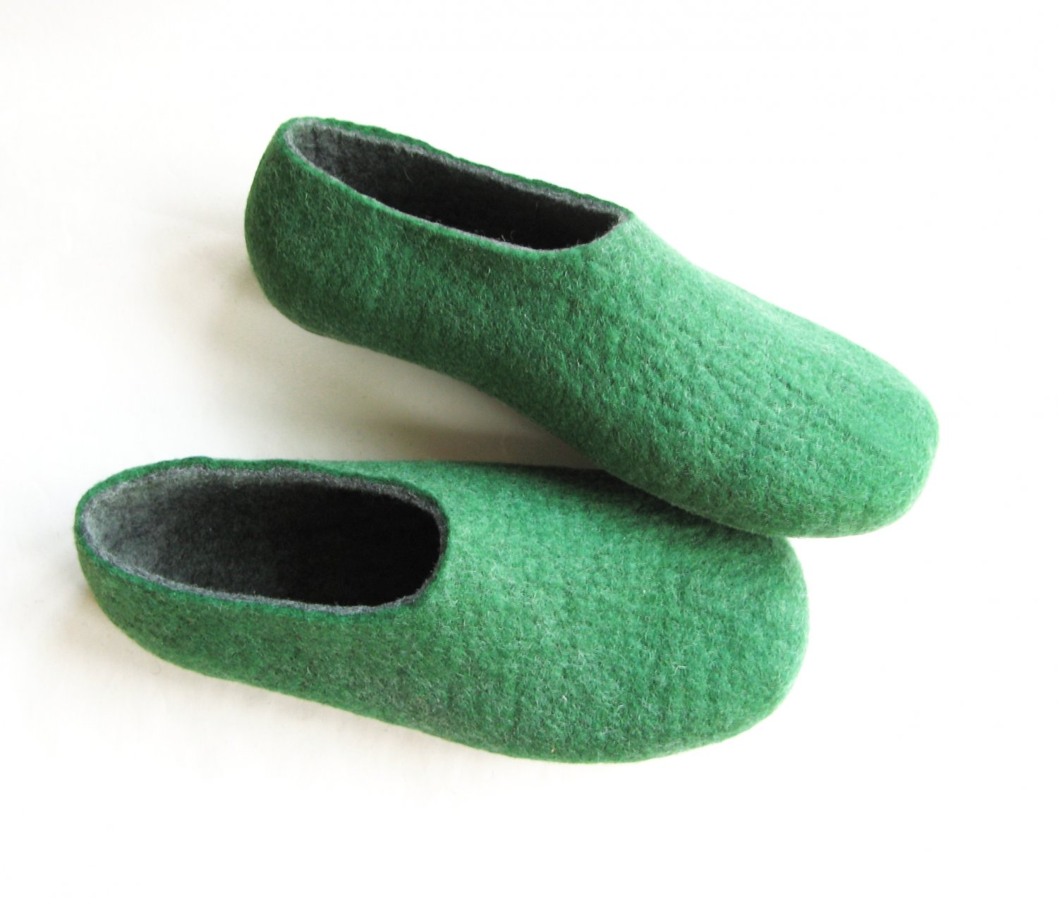 Men's Wool Slippers Green Gray. All sizes for Men