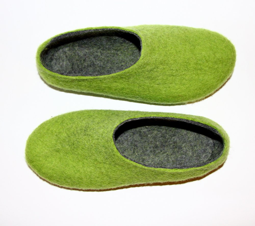 Women's felt wool slippers Apple Green Gray