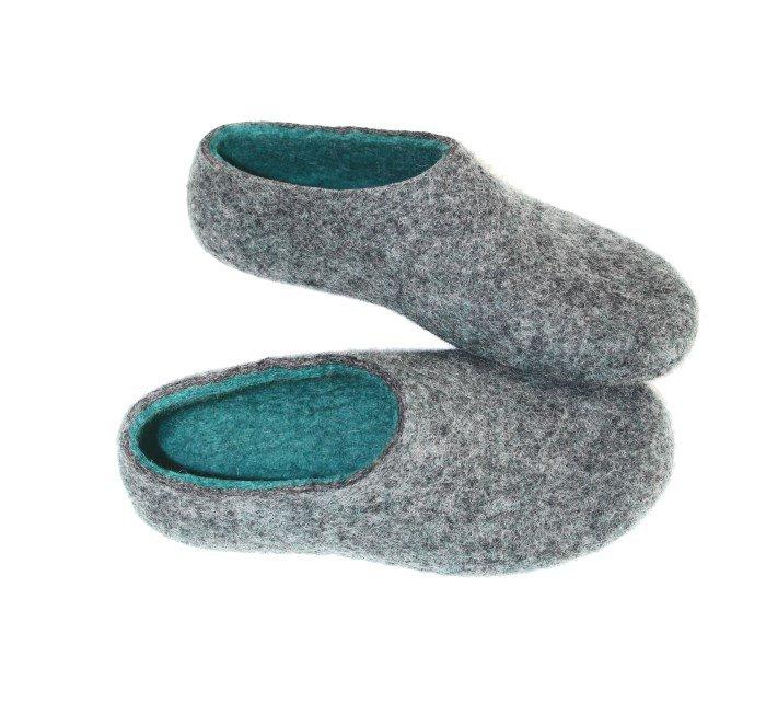 Women's felt slippers Paloma Grey Ocean Green. Custom made
