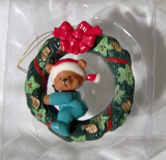 Wreath and Teddy Bear Christmas Tree Ornament